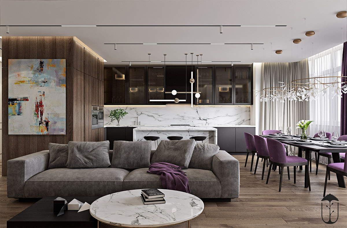 A Cozy Modern Home With White Marble And Purple Accents