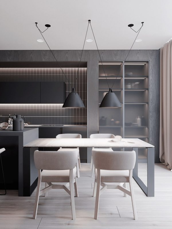 Black-dining-pendant-lights-600x800 Black, White & Beige Apartment For The Fashionista