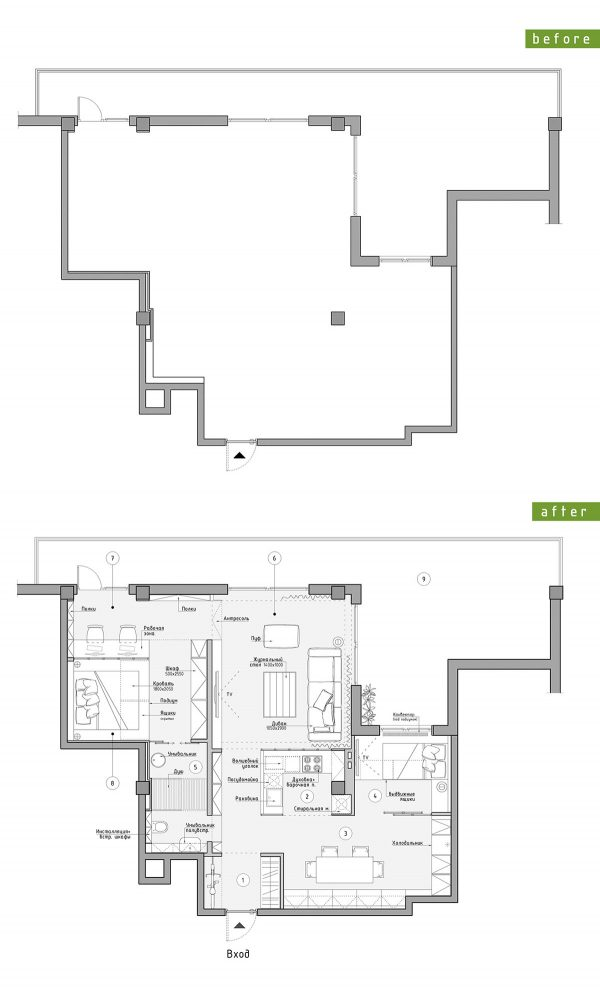 Loft-plan-600x989 Three Industrial Style Lofts WIth Natural Accents Upholstery in Victoria