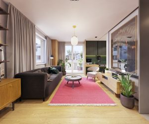 Color in Compact Apartments Blends Personality & Minimalism