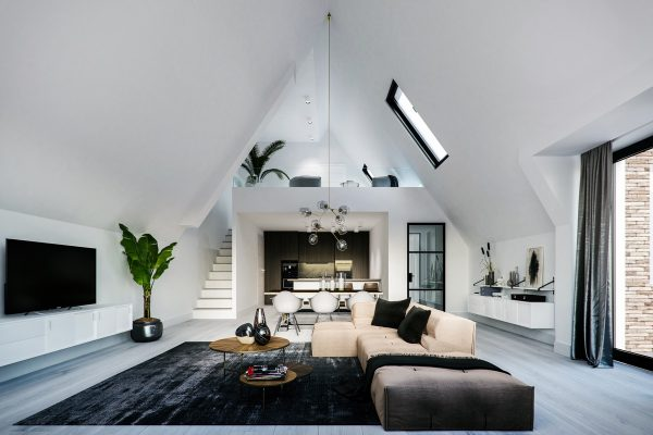 Modern-living-room-with-skylight-600x400 Indoor Skylights: 37 Beautiful Examples To Tempt You To Have One For Yourself