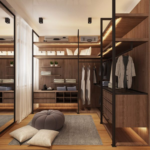 Walk-in-closet-3-600x600 Three Industrial Style Lofts WIth Natural Accents Upholstery in Victoria