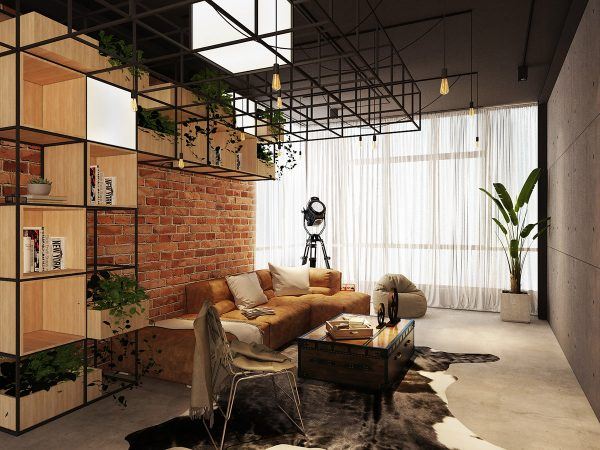 industrial-living-room-600x450 Three Industrial Style Lofts WIth Natural Accents Upholstery in Victoria