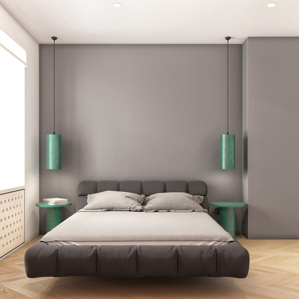 minimalist-bedroom-with-gray-and-green-accents-600x600 Modern Minimalist Apartment Designs Under 75 Square Meters (808 Square Feet)