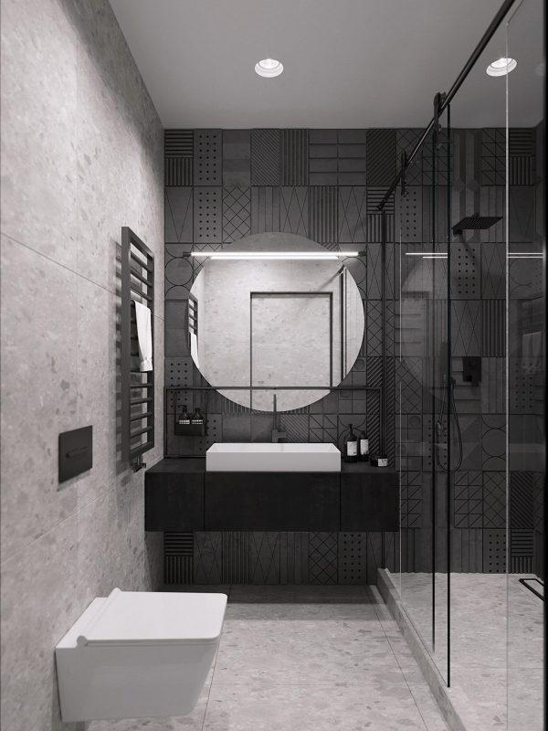 modern-bathroom-vanity-1-600x800 Black, White & Beige Apartment For The Fashionista