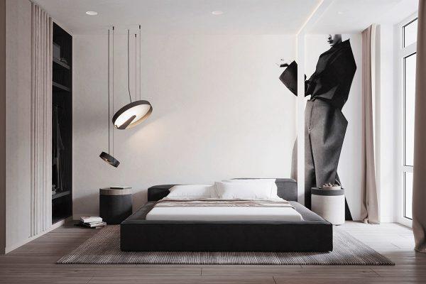 modern-bedroom-decor-600x400 Black, White & Beige Apartment For The Fashionista