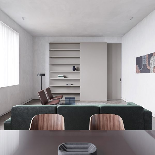 open-wall-shelving-in-living-area-600x600 Modern Minimalist Apartment Designs Under 75 Square Meters (808 Square Feet) Upholstery in Victoria