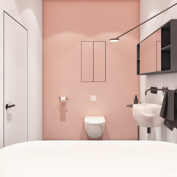 pink-accent-wall-in-modern-bathroom-600x600 Modern Minimalist Apartment Designs Under 75 Square Meters (808 Square Feet)