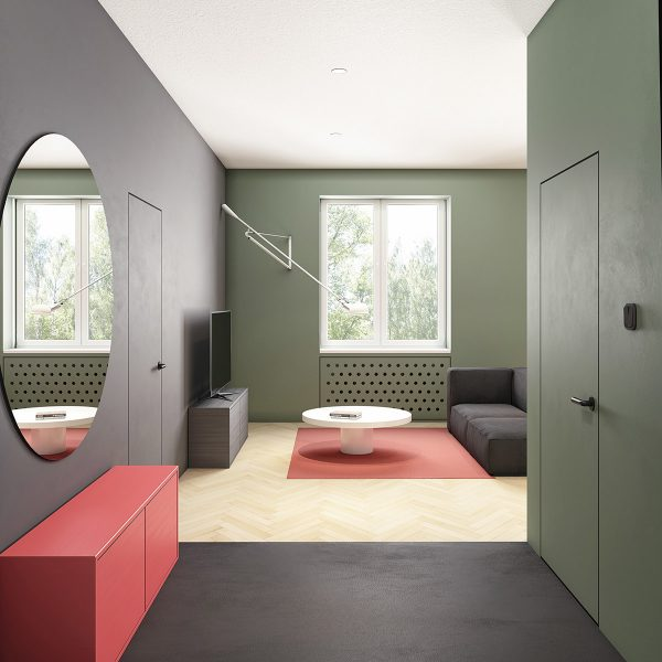 pink-and-green-home-accents-600x600 Modern Minimalist Apartment Designs Under 75 Square Meters (808 Square Feet) Upholstery in Victoria