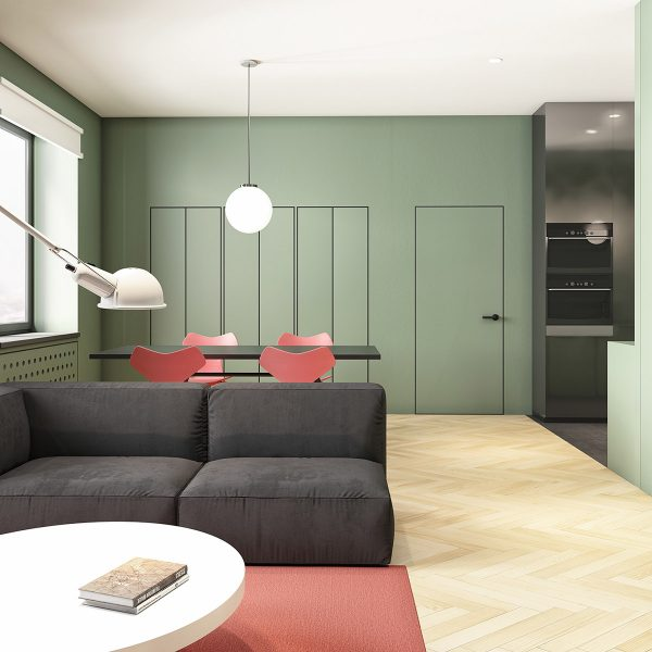 sage-green-and-salmon-living-and-dining-area-600x600 Modern Minimalist Apartment Designs Under 75 Square Meters (808 Square Feet) Upholstery in Victoria