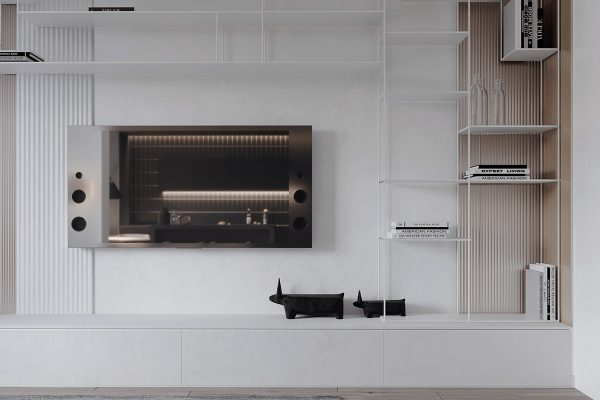wall-shelves-system-600x400 Black, White & Beige Apartment For The Fashionista