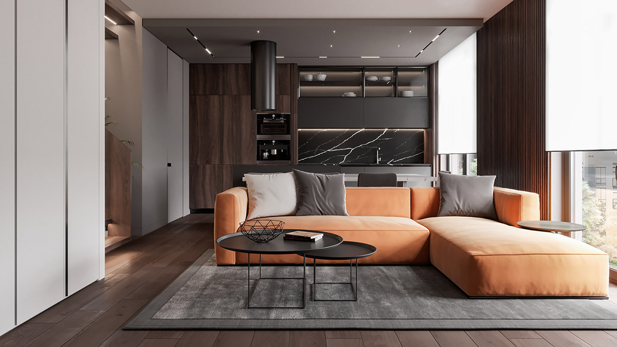 Penthouse Interior Design With Orange Accents