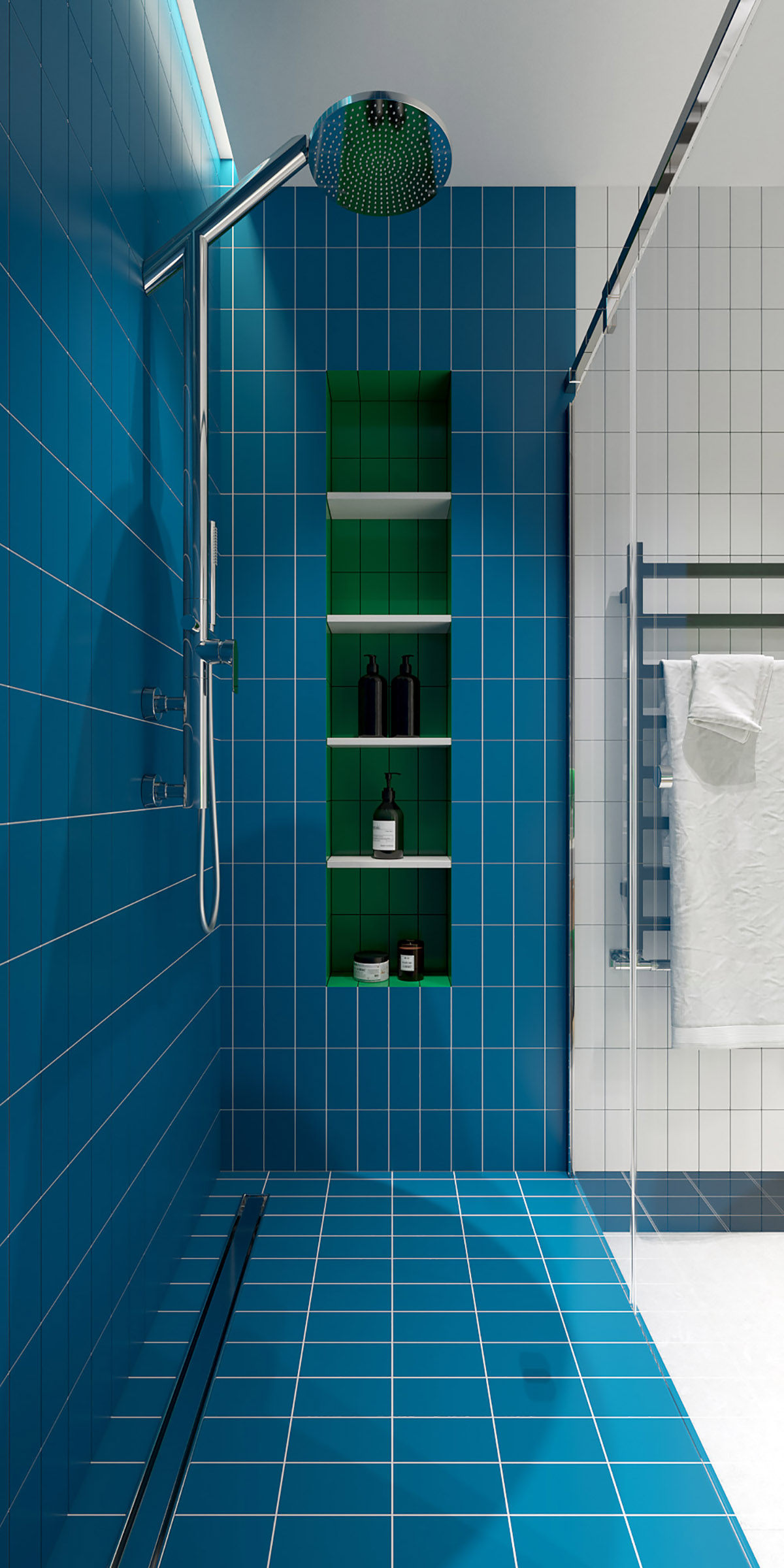 blue shower tiles interior design ideas