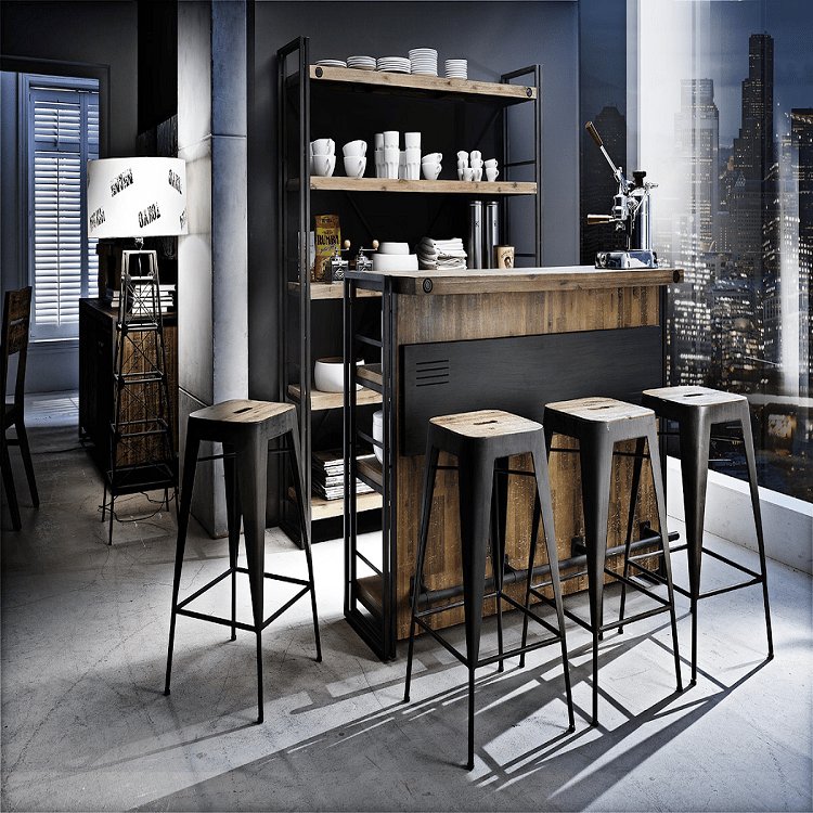 Bar Akazie Massiv Metall Holz Braun Bartheke Hausbar