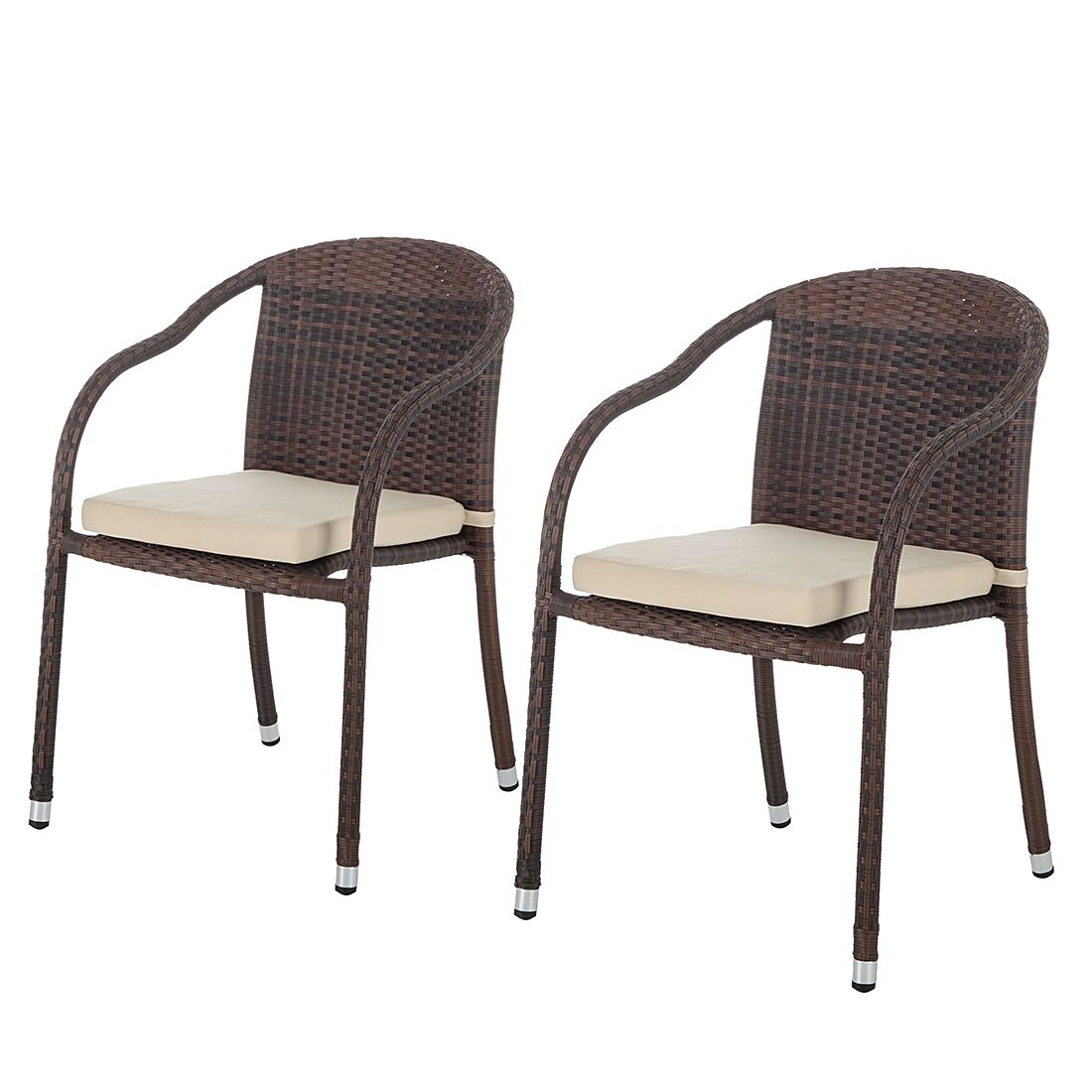 Esszimmer Stühle Polyrattan Garten Esszimmer Tisch 4 Sessel Vanda Grau