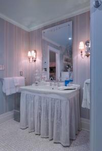 English Country Bathroom in Centerport - frameless mirror ...