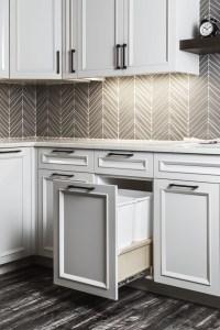 Transitional Kitchen in Portland - black cabinet hardware ...