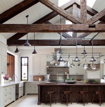 Kitchen with Vaulted Ceilings and Beams