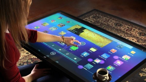 multitouch coffee table is one giant
