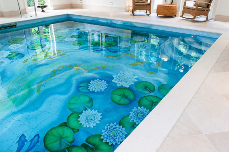 Indoor swimming pool gets new life with water-lily ceramic murals