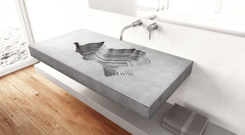 wall mounted concrete washbasin