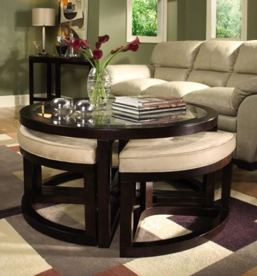 ottoman tables living room curtain length in round table for small spaces