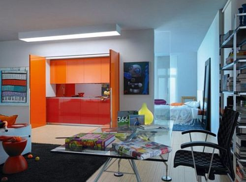 Amazing Color Hidden Kitchen For Small Spaces