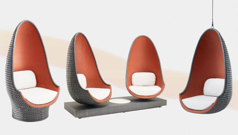orange egg chair grey upholstered dining chairs uk philippe starck designed lounge from dedon