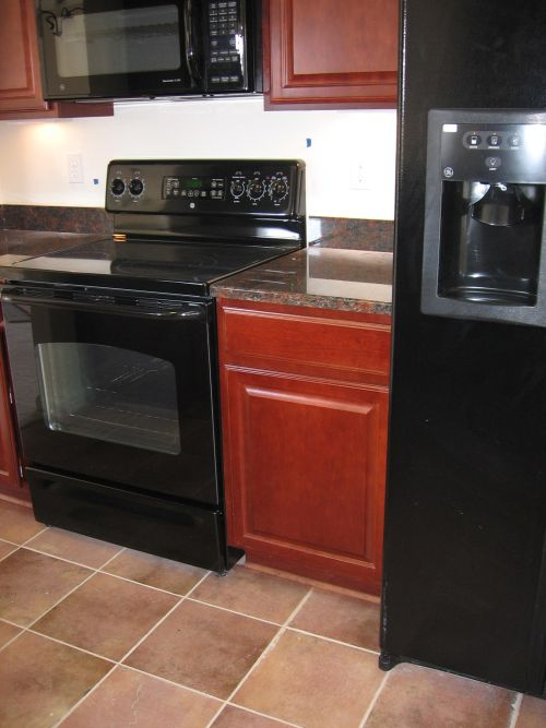 black kitchen appliances swan granite sinks how to decorate a with view in gallery