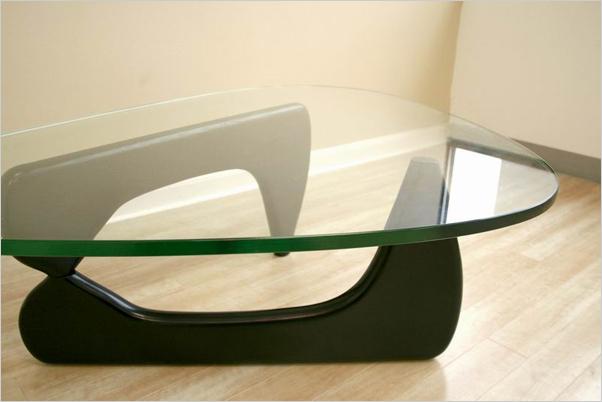 triangle wood base coffee table