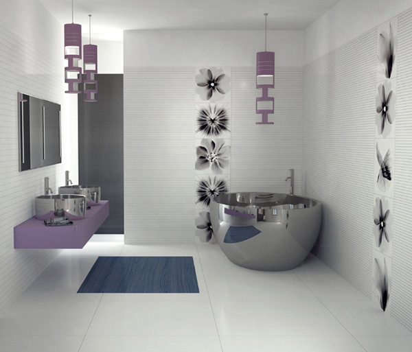 The Purple Modern Bathroom Design from Viva Ceramica
