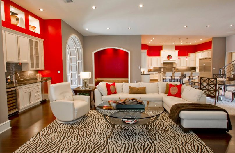 Attractive Red and White Living Room Interior Designs