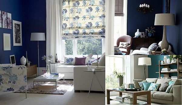 white and blue living room Blue and White Living Room
