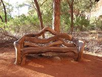 Bench Carved Out of Wood for Outdoors