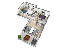 2 Bedroom House Floor Plans 3D