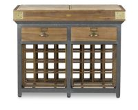 French Chef's Kitchen Island with Wine Racks