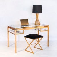 Elegant Brentwood beveled glass desk