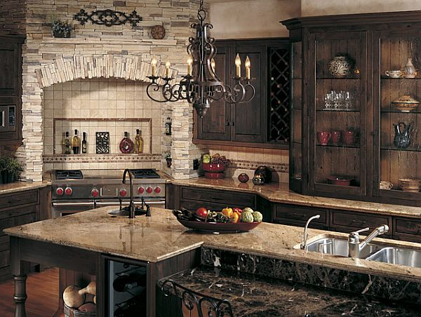 Create a rustic kitchen design with the help of stone veneers