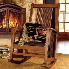 Indoor Rocking Chair Mongolian Lamb Fur Elegant Deluxe Mission Rocker