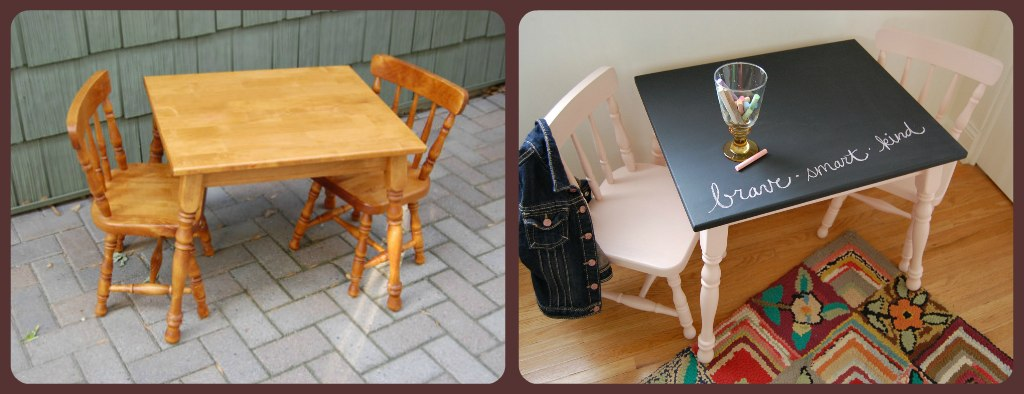 little kids table and chairs retro dining chair how to use chalkboard paint make a stand out