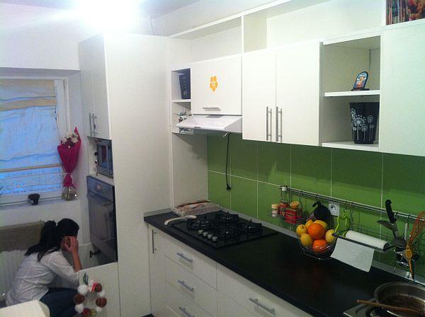 Readers ProjectGreen kitchen backsplash and white cabinets