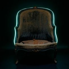 Chair With Light Blue Patterned The Antique Bergere Adorned A Turquoise Neon
