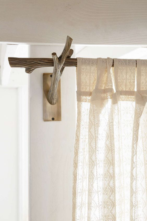 beautiful curtain rods out of tree branches