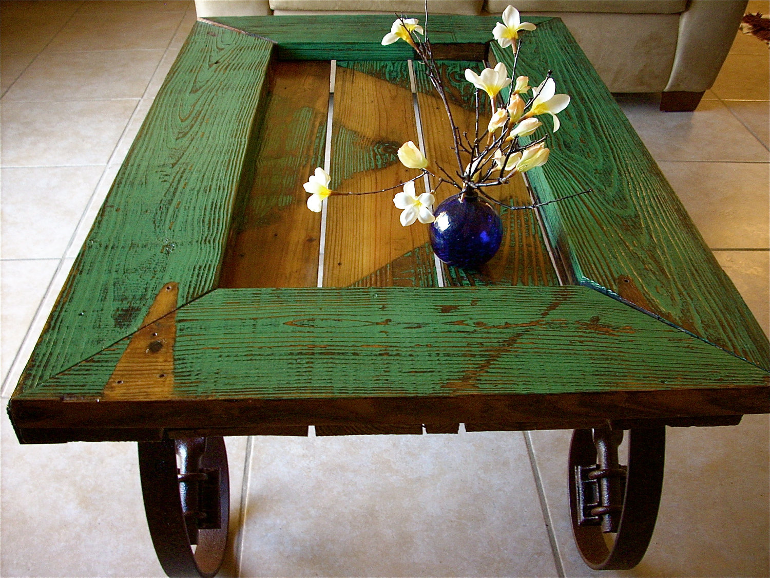 Coffee Table Large Drawers Wooden