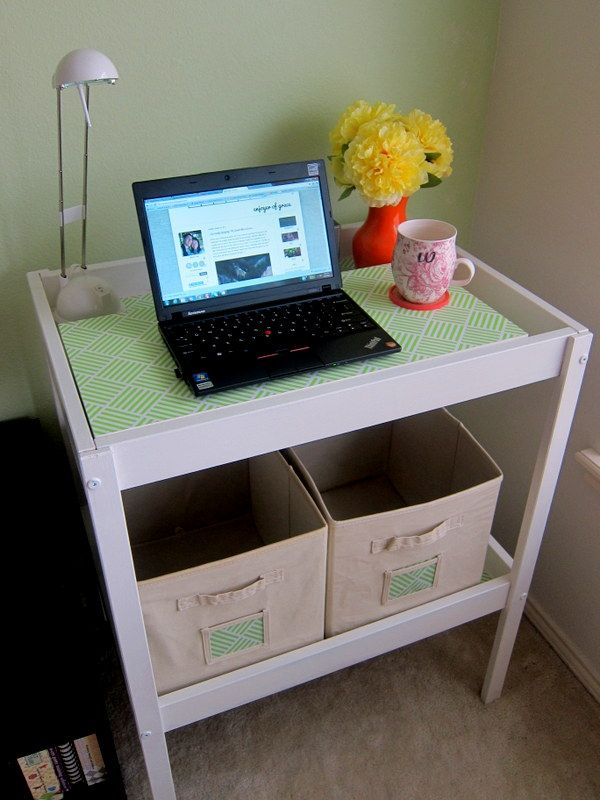 Creative DIY project changing table turned into an office
