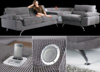 The innovative Sounds Sofa with a built-in iPhone/iPod dock