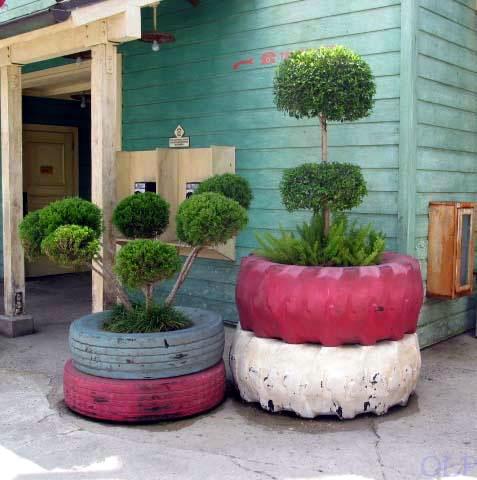 vaso ricavato da pneumatici riciclati