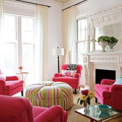 Tufted Yellow Chair Elegance Covers Nottingham Trendy Color Combo: Hot Pink & Lime Green