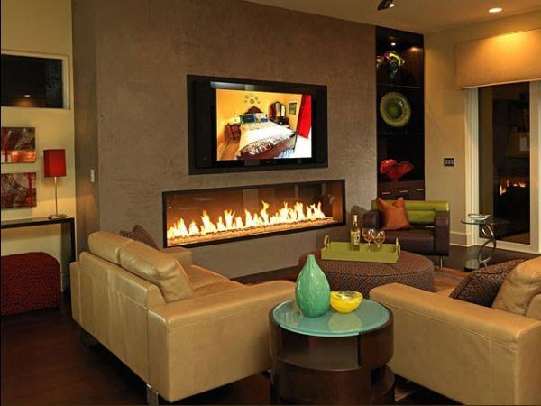 Focal Point Living Room Without Fireplace - Fire