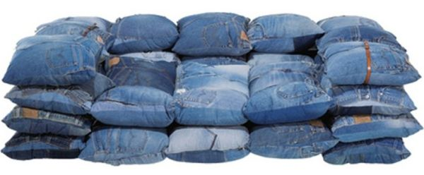 clubber sofa bed corner ikea hack a made out from recycled jeans